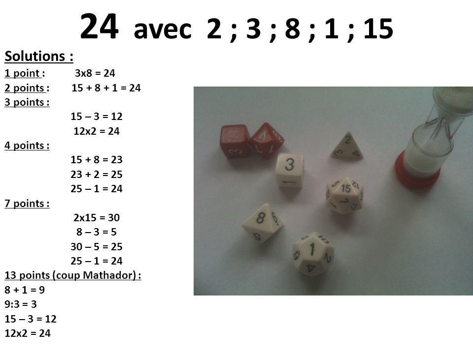 Solutions : 1 point : 3x8 = 24 2 points : 15 + 8 + 1 = 24 3 points : 15 – 3 = 12 12x2 = 24 4 points : 15 + 8 = 23 23 + 2 = 25 25 – 1 = 24 7 points : 2