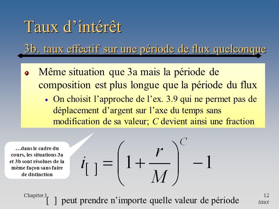 Chapitre 312 Taux dintérêt 3b. taux effectif sur une période de flux quelconque Même situation que 3a mais la période de composition est plus longue q