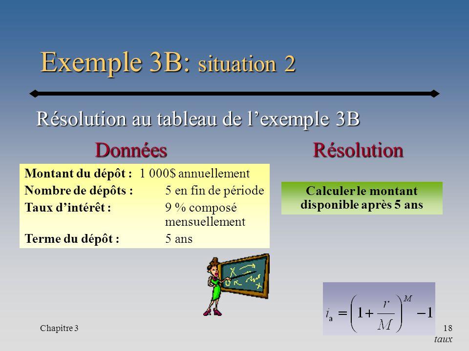 Chapitre 318 Exemple 3B: situation 2 taux Résolution au tableau de lexemple 3B RésolutionDonnées Montant du dépôt : 1 000$ annuellement Nombre de dépô