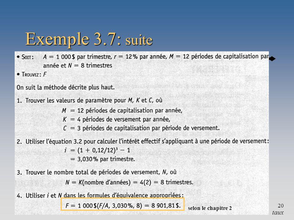 Chapitre 320 Exemple 3.7: suite taux selon le chapitre 2