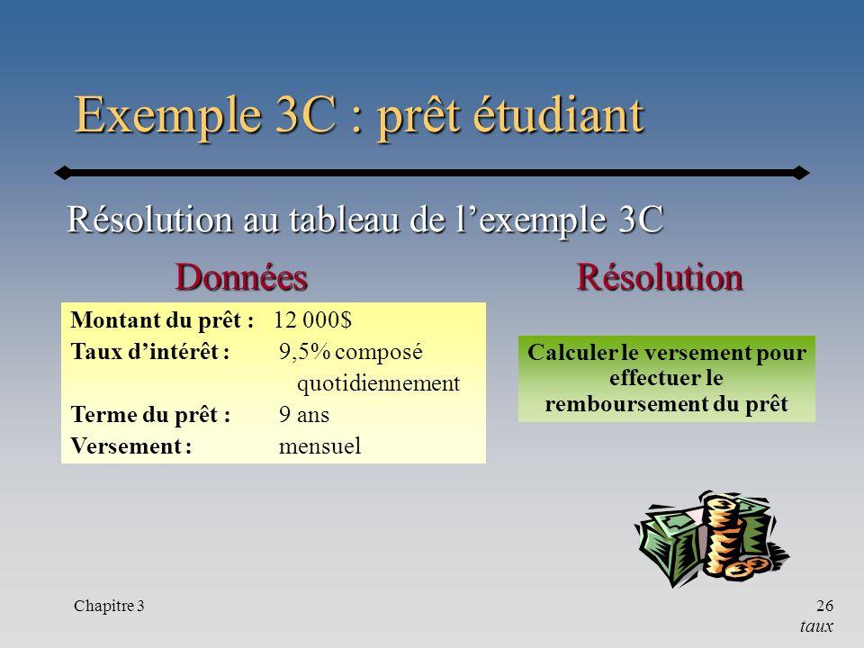 Chapitre 326 Exemple 3C : prêt étudiant Résolution au tableau de lexemple 3C RésolutionDonnées Montant du prêt : 12 000$ Taux dintérêt : 9,5% composé