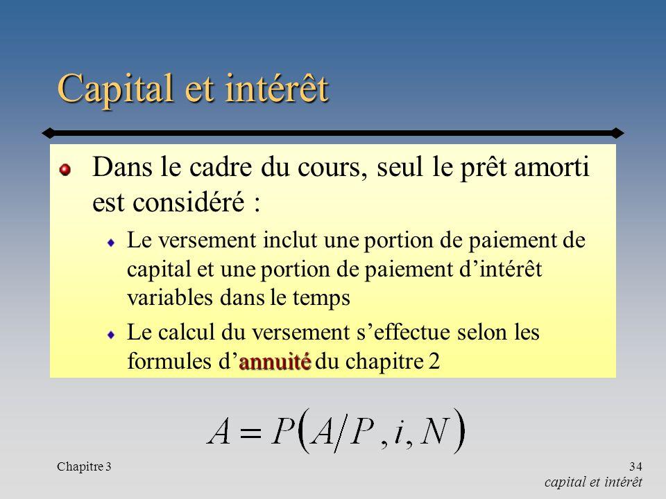 Chapitre 334 Capital et intérêt Dans le cadre du cours, seul le prêt amorti est considéré : Le versement inclut une portion de paiement de capital et