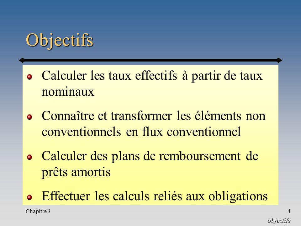 Chapitre 34 Objectifs Calculer les taux effectifs à partir de taux nominaux Connaître et transformer les éléments non conventionnels en flux conventio