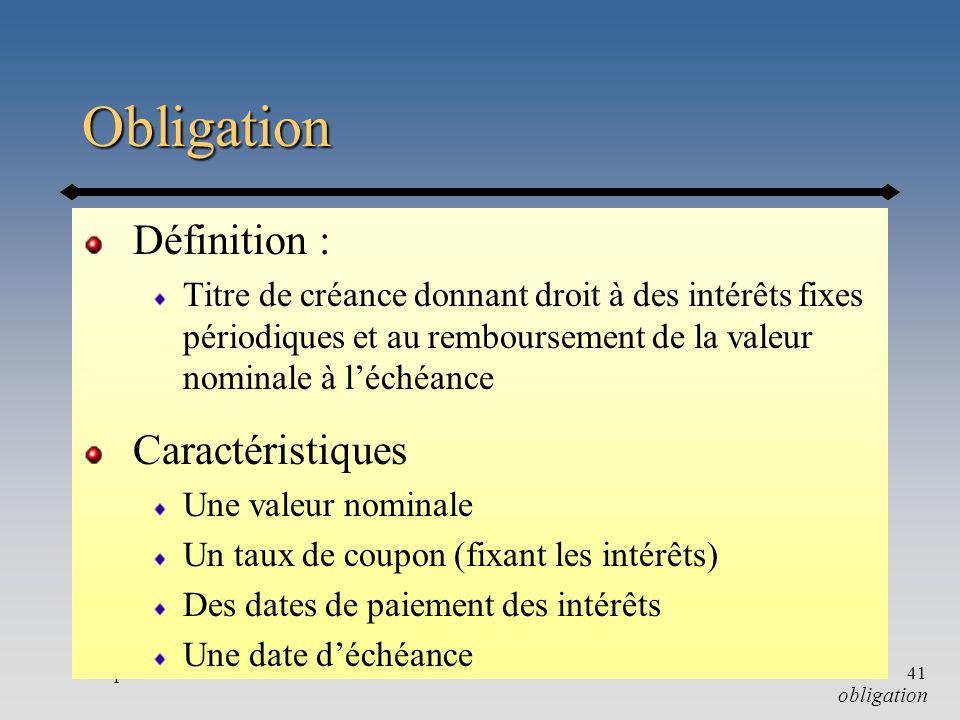 Chapitre 341 Obligation Définition : Titre de créance donnant droit à des intérêts fixes périodiques et au remboursement de la valeur nominale à léché
