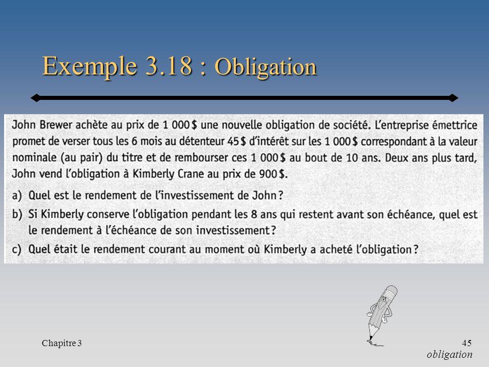 Chapitre 345 Exemple 3.18 : Obligation obligation