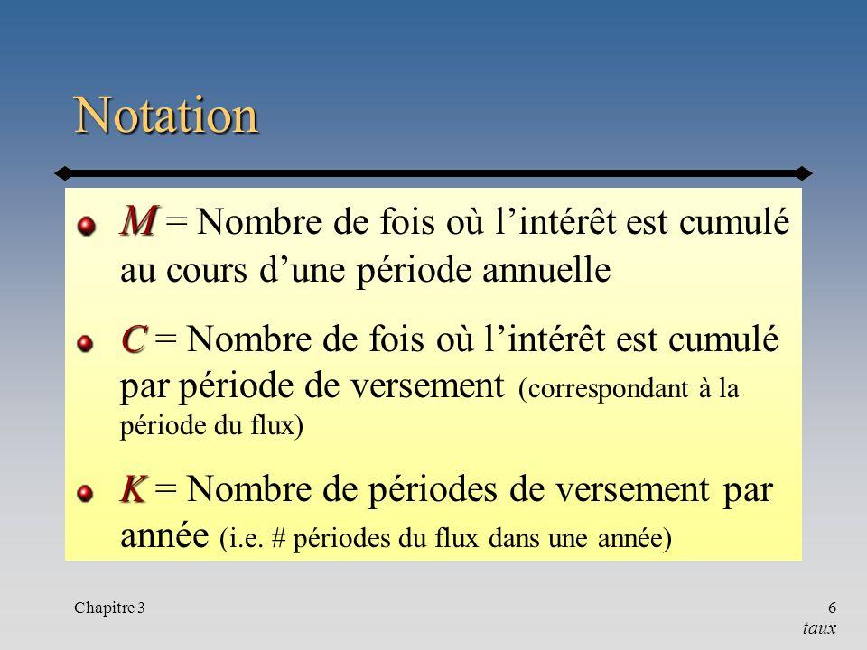 Chapitre 36 Notation M M = Nombre de fois où lintérêt est cumulé au cours dune période annuelle C C = Nombre de fois où lintérêt est cumulé par périod