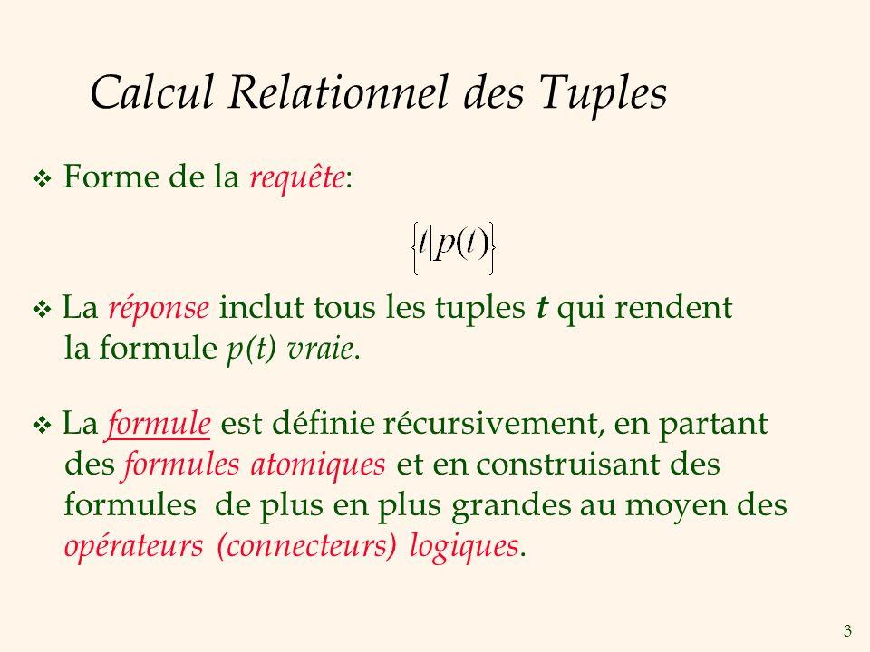 3 Calcul Relationnel des Tuples Forme de la requête : La réponse inclut tous les tuples t qui rendent la formule p(t) vraie. La formule est définie ré