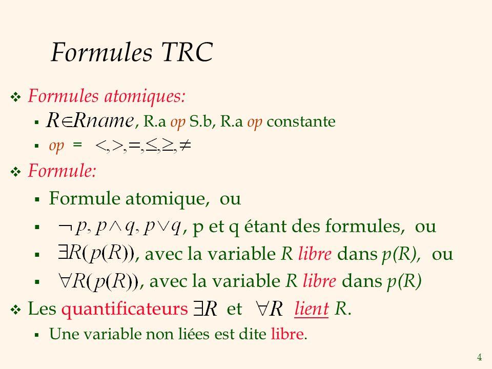 4 Formules TRC Formules atomiques:, R.a op S.b, R.a op constante op = Formule: Formule atomique, ou, p et q étant des formules, ou, avec la variable R