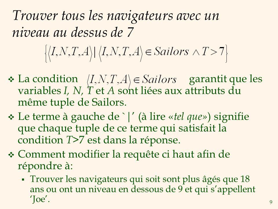 9 Trouver tous les navigateurs avec un niveau au dessus de 7 La condition garantit que les variables I, N, T et A sont liées aux attributs du même tup