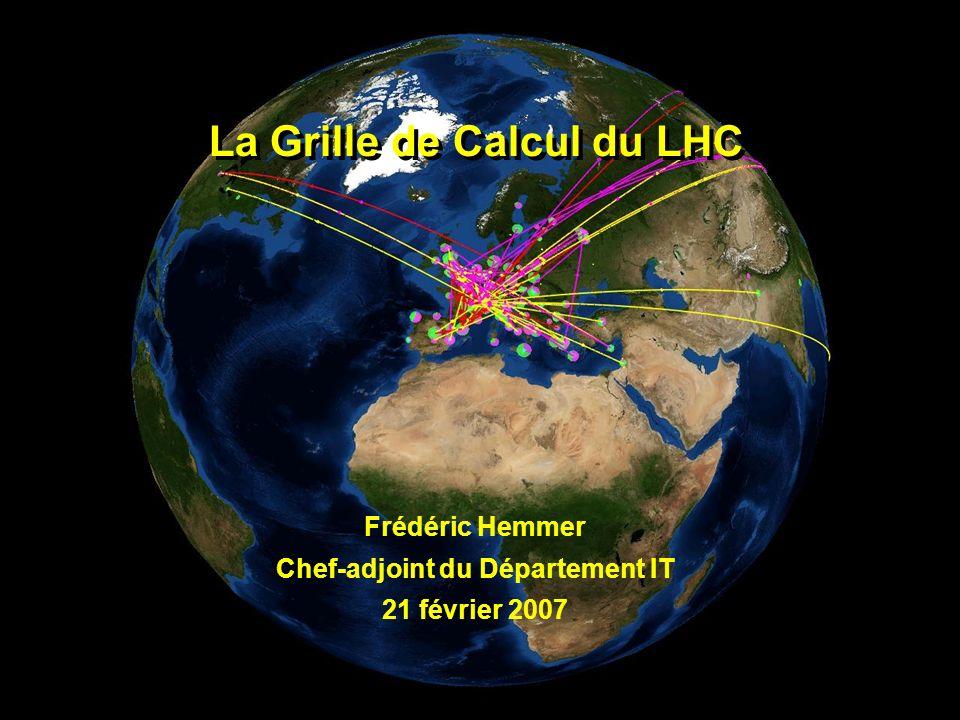 2 La Grille de Calcul du LHC – février 2007 Le pari informatique du LHC Laccélérateur sera terminé en 2008 et fonctionnera 10-15 ans Les expériences vont produire environ 15 millions de Gigaoctets de données chaque année (environ 20 millions de CD!) Lanalyse des données du LHC requiert une puissance informatique équivalente à ±100000 processeurs actuels les plus puissants Cela nécessite la coopération de plusieurs centres de calcul étant donné que le CERN ne peut fournir que ± 20% de cette capacité