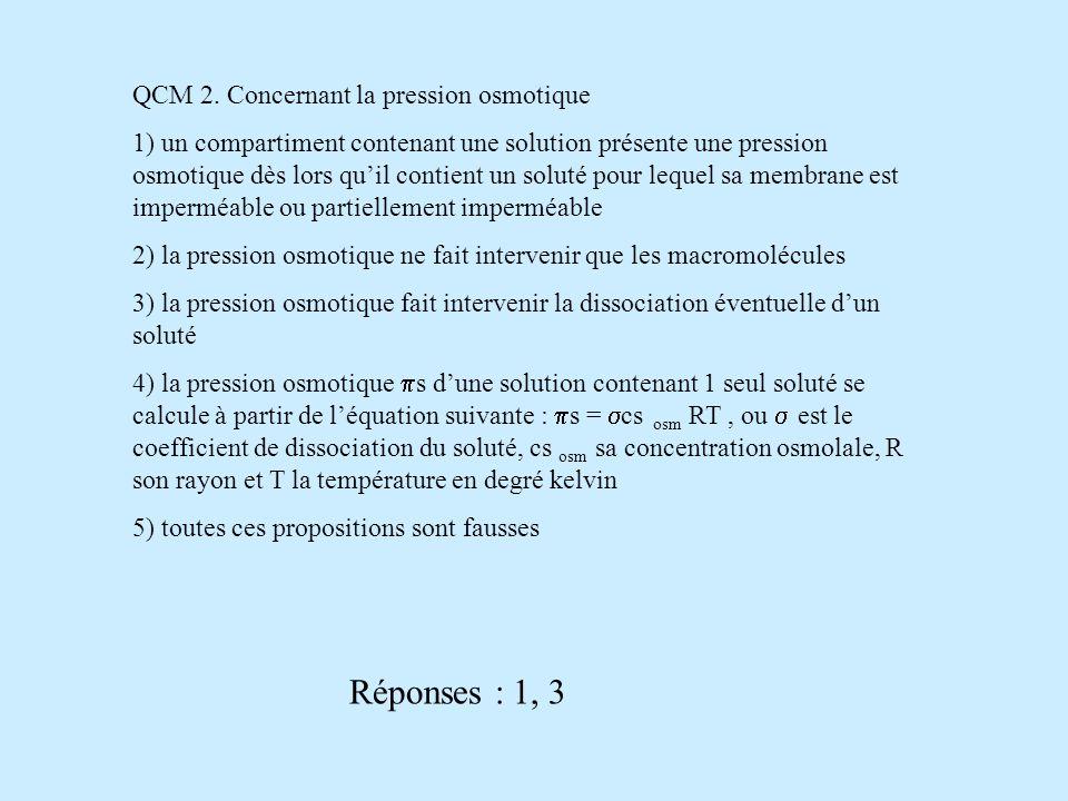 QCM 2. Concernant la pression osmotique 1) un compartiment contenant une solution présente une pression osmotique dès lors quil contient un soluté pou