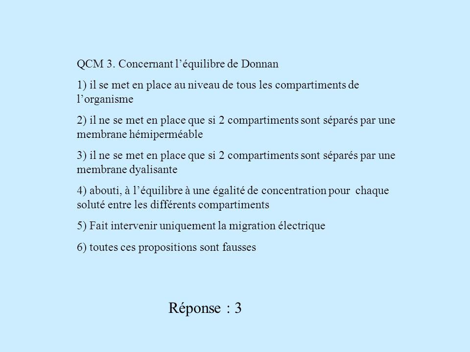 QCM 3. Concernant léquilibre de Donnan 1) il se met en place au niveau de tous les compartiments de lorganisme 2) il ne se met en place que si 2 compa