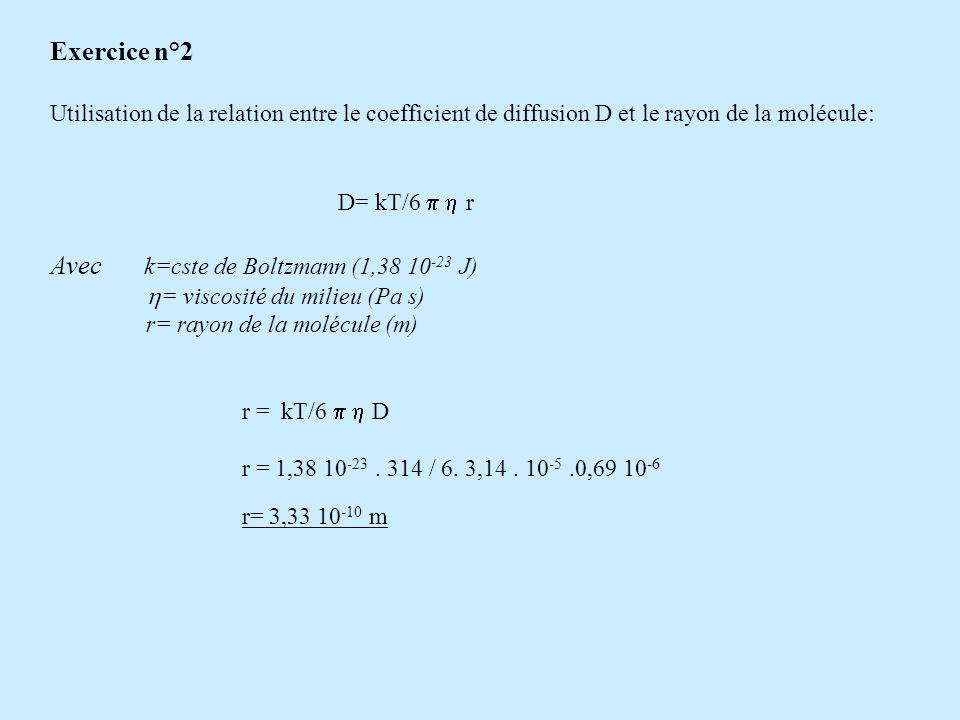 Exercice n° 3 Urée 24g/l Mannitol 0,5 mole/l 1212 Urée 24 g/l a)Pour lurée, c 1 = c 2 => il ny a pas de diffusion Pour le mannitol c/ x = c 1 -c 2 / x Avec c 1 = 0,5 mole/l = 91g/l = 91kg/m 3 et c 2 = 0 => c= 91/ x kg/m 4 (-91/ x kg/m 4 également correct) b) Utilisation de la relation de Fick : J d = -D m S dc/dxAttention aux unités!!.