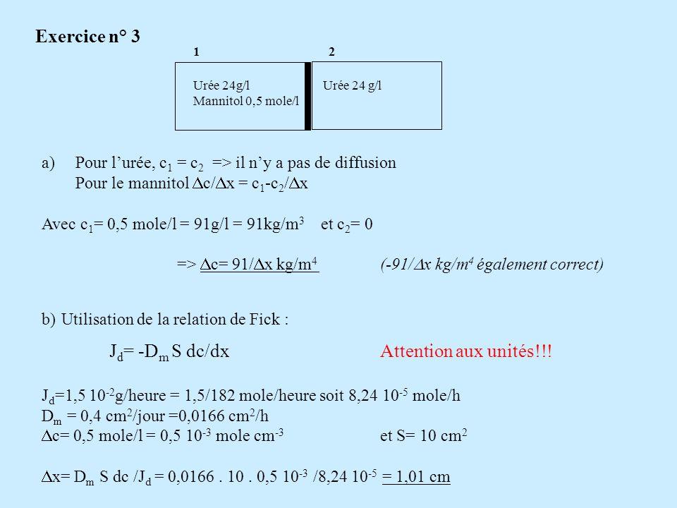 Exercice n° 4 Masse durée passant du compartiment 1 vers le compartiment 2 pendant 1s On utilise la loi de Fick: J d = -D S dc/dxoù S= aire pore perméables D= 0,81cm 2 /J = 0,81/(3600.