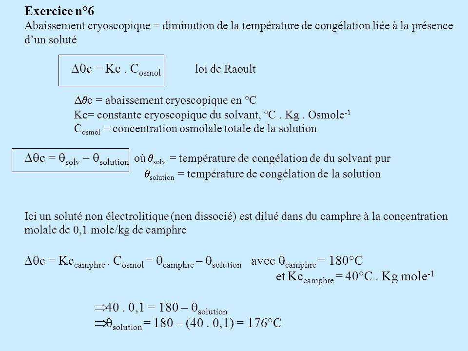Exercice n°7 Leffet Donnan sobserve entre 2 compartiments séparés par une mb dialysante si lun des compartiment comporte une protéine dissociée: Les petits ions diffusibles vont diffuser du compartiment où le produit ionique est le plus grand vers le compartiment où le produit ionique est le plus faible tout en respectant lélectroneutralité de chaque compartiment => chaque ions diffusible sera en concentration différente entre les 2 compartiments A léquilibre, les potentiels déquilibre de chaque ions diffusible sont identiques et égal au Potentiel déquilibre de Donnan A léquilibre les relations suivantes sont vérifiées (cas dune protéine, dun cation et de KCl) [C+] 2 / [C+] 1 = [K+] 2 / [K+] 1 = [Cl-] 1 / [Cl-] 2