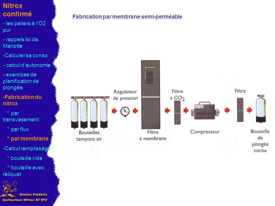 Nitrox confirmé Fabrication par membrane semi-perméable - les paliers à lO2 pur - rappels loi de Mariotte -Calculer sa conso - calcul dautonomie - exercices de planification de plongée -Fabrication du nitrox * par transvasement * par flux * par membrane -Calcul remplissage * bouteille vide * bouteille avec reliquat