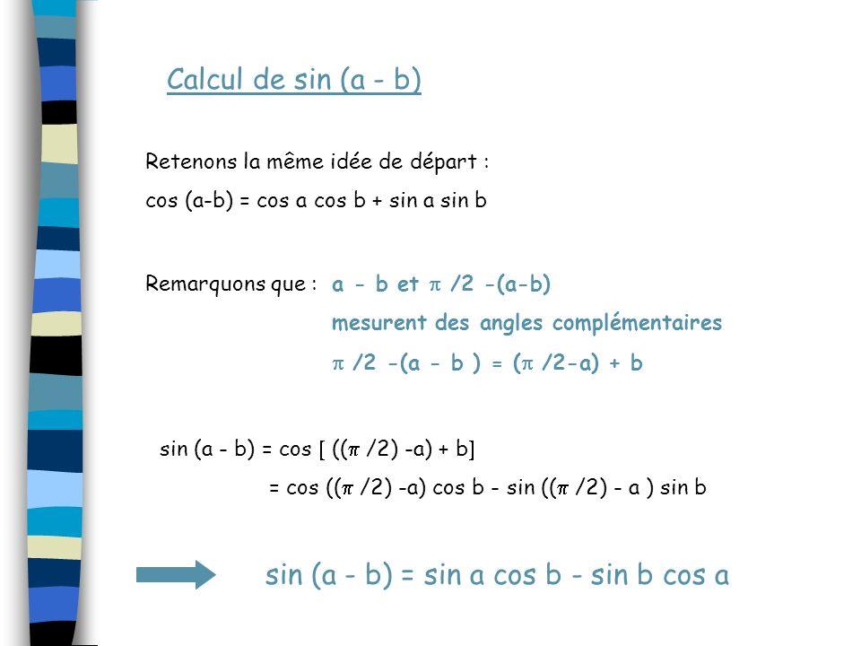 Calcul de sin (a - b) Retenons la même idée de départ : cos (a-b) = cos a cos b + sin a sin b Remarquons que :a - b et /2 -(a-b) mesurent des angles complémentaires /2 -(a - b ) = ( /2-a) + b sin (a - b) = cos (( /2) -a) + b = cos (( /2) -a) cos b - sin (( /2) - a ) sin b sin (a - b) = sin a cos b - sin b cos a