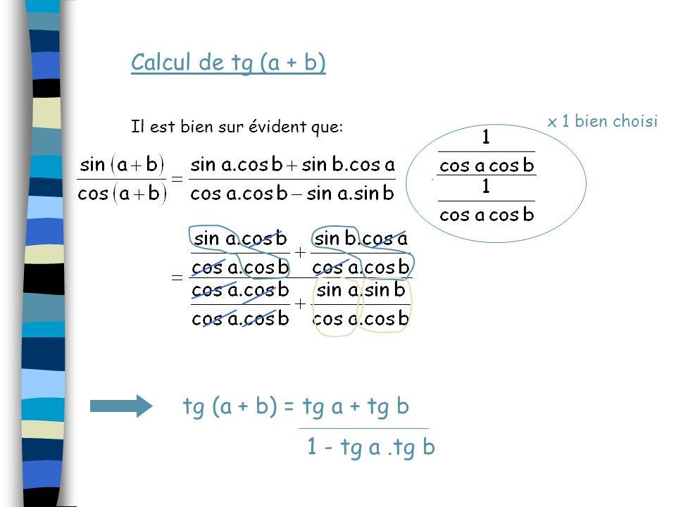 Calcul de sin (a - b) Retenons la même idée de départ : cos (a-b) = cos a cos b + sin a sin b Remarquons que :a - b et /2 -(a-b) mesurent des angles c