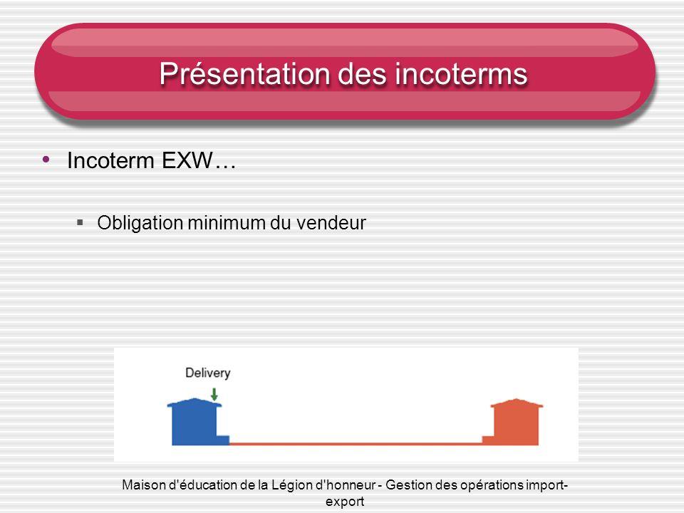 Maison d'éducation de la Légion d'honneur - Gestion des opérations import- export Présentation des incoterms Incoterm EXW… Obligation minimum du vende
