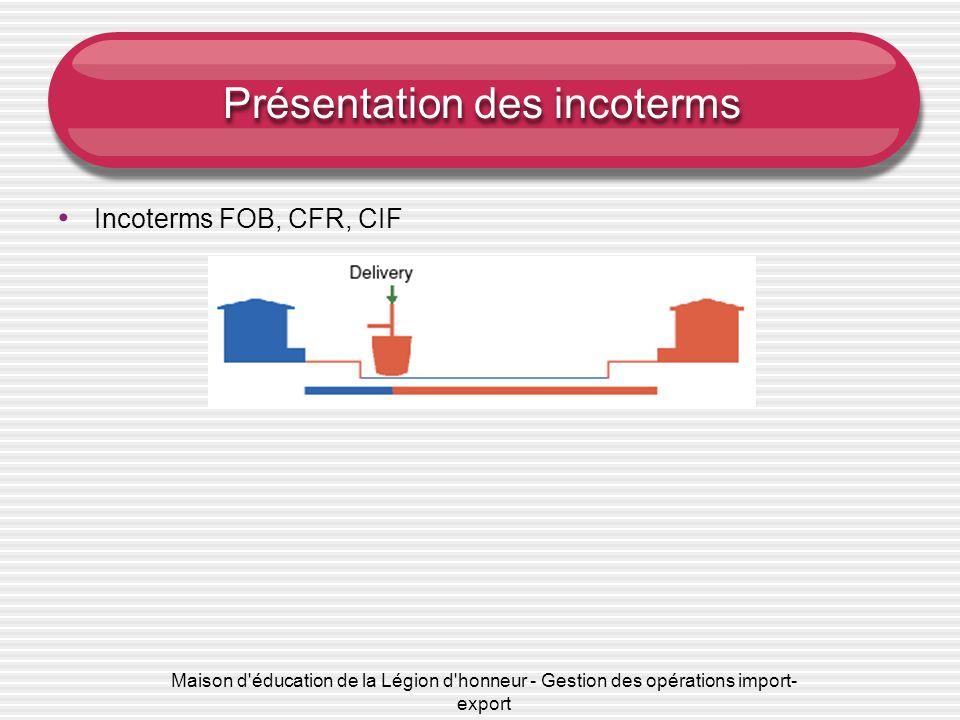 Maison d'éducation de la Légion d'honneur - Gestion des opérations import- export Présentation des incoterms Incoterms FOB, CFR, CIF