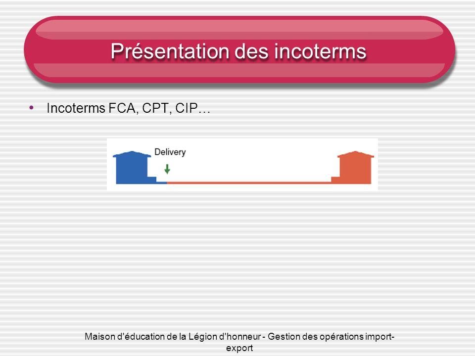 Maison d'éducation de la Légion d'honneur - Gestion des opérations import- export Présentation des incoterms Incoterms FCA, CPT, CIP…