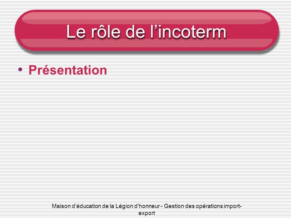 Maison d'éducation de la Légion d'honneur - Gestion des opérations import- export Le rôle de lincoterm Présentation