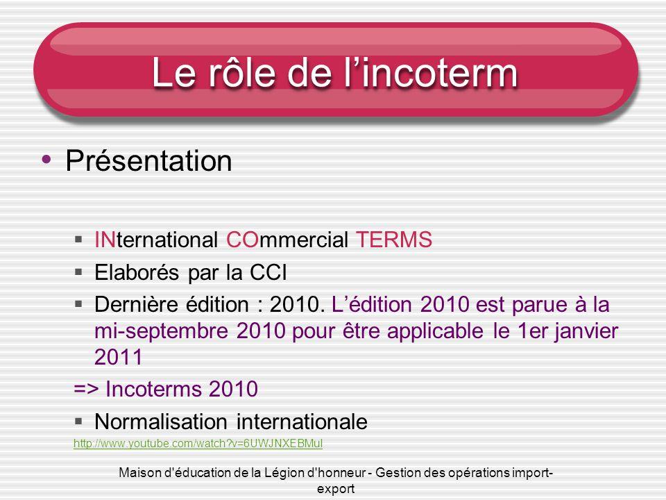 Maison d'éducation de la Légion d'honneur - Gestion des opérations import- export Le rôle de lincoterm Présentation INternational COmmercial TERMS Ela