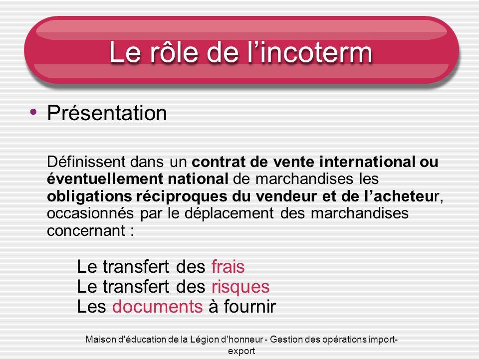Maison d'éducation de la Légion d'honneur - Gestion des opérations import- export Le rôle de lincoterm Présentation Définissent dans un contrat de ven