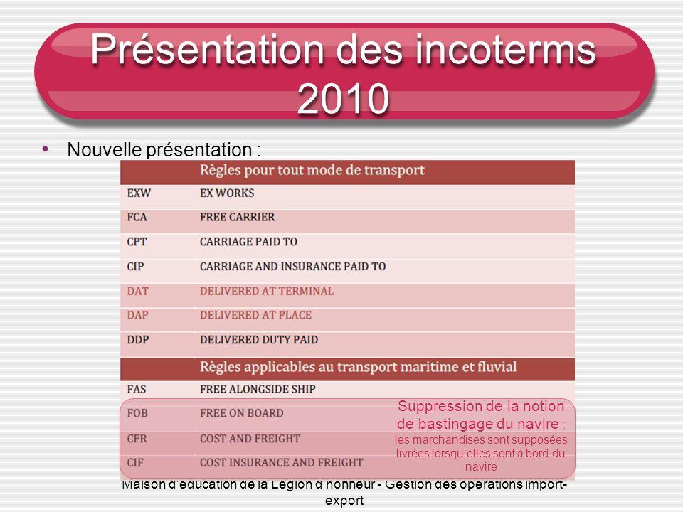 Maison d'éducation de la Légion d'honneur - Gestion des opérations import- export Présentation des incoterms 2010 Nouvelle présentation : Suppression