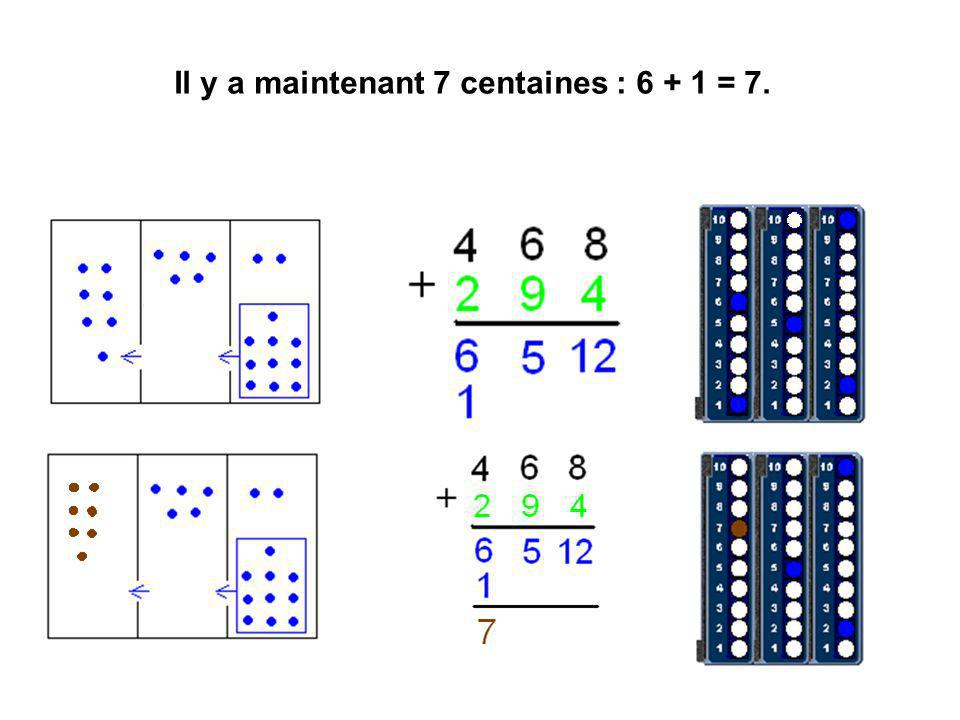 Il y a maintenant 7 centaines : 6 + 1 = 7.