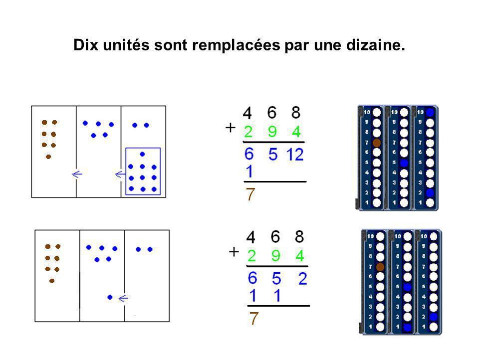 Dix unités sont remplacées par une dizaine.