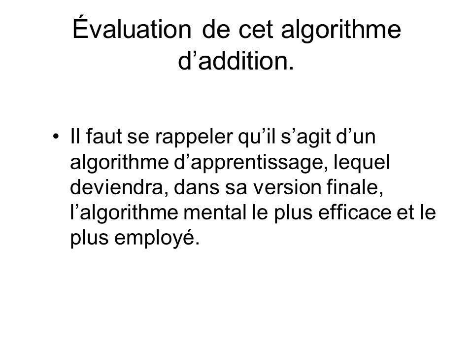 Évaluation de cet algorithme daddition. Il faut se rappeler quil sagit dun algorithme dapprentissage, lequel deviendra, dans sa version finale, lalgor