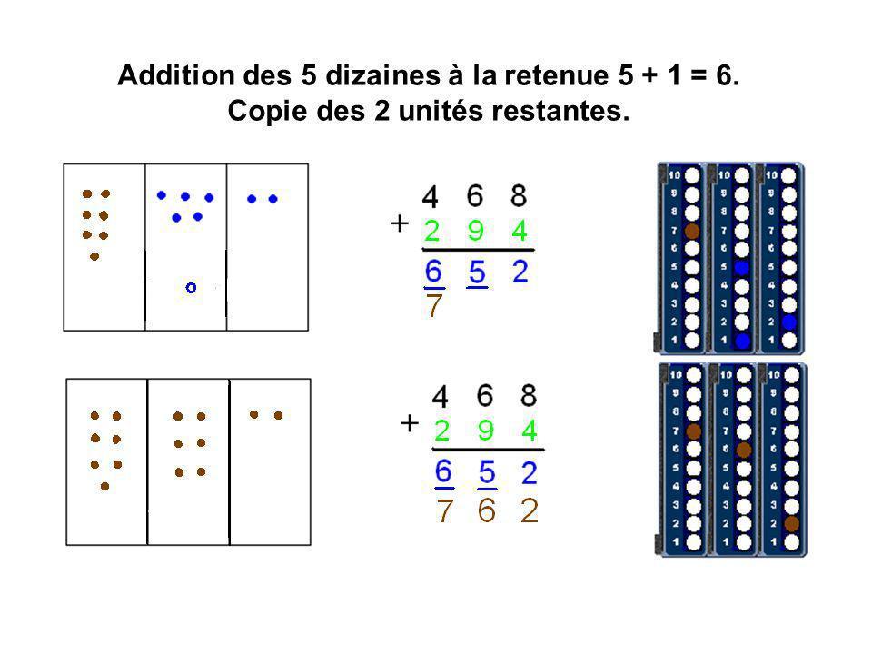 Addition des 5 dizaines à la retenue 5 + 1 = 6. Copie des 2 unités restantes.
