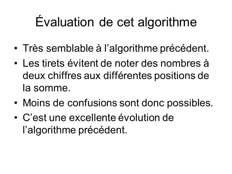 Évaluation de cet algorithme Très semblable à lalgorithme précédent. Les tirets évitent de noter des nombres à deux chiffres aux différentes positions