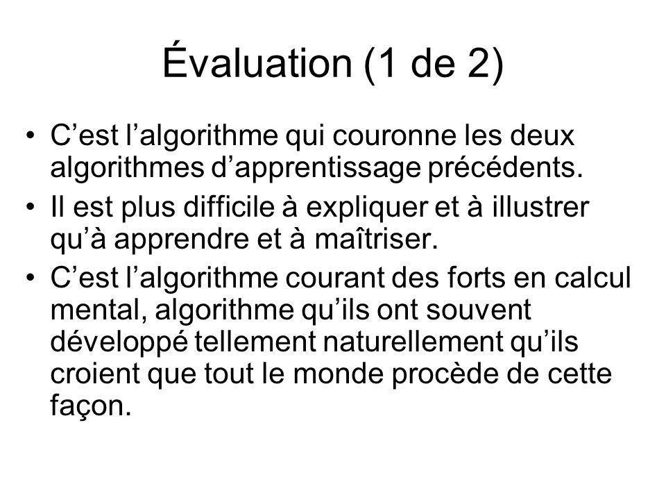 Évaluation (1 de 2) Cest lalgorithme qui couronne les deux algorithmes dapprentissage précédents. Il est plus difficile à expliquer et à illustrer quà