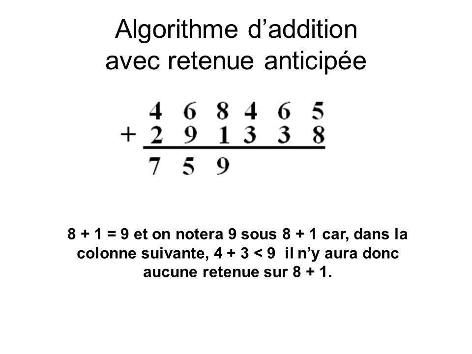 Algorithme daddition avec retenue anticipée 8 + 1 = 9 et on notera 9 sous 8 + 1 car, dans la colonne suivante, 4 + 3 < 9 il ny aura donc aucune retenu