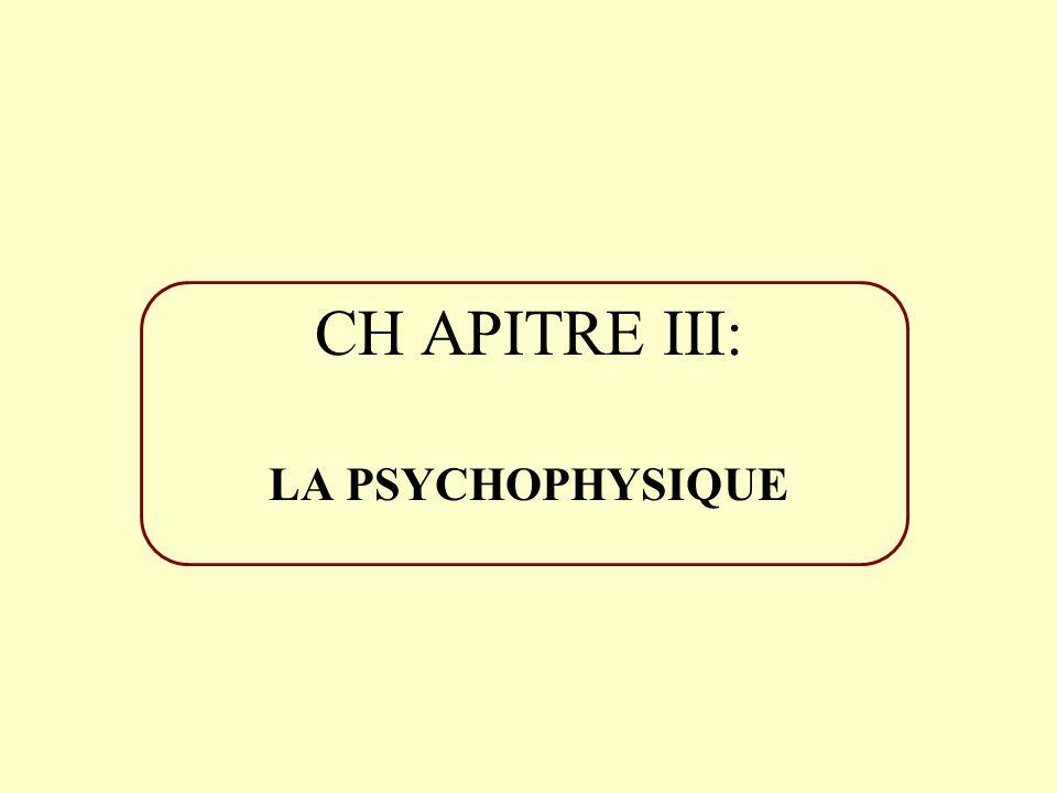 CHAPITRE III: LA PSYCHOPHYSIQUE
