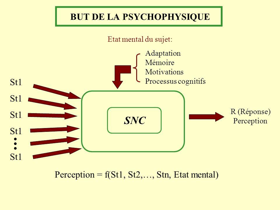 BUT DE LA PSYCHOPHYSIQUE SNC R (Réponse) Perception Perception = f(St1, St2,…, Stn, Etat mental) Etat mental du sujet: Adaptation Mémoire Motivations