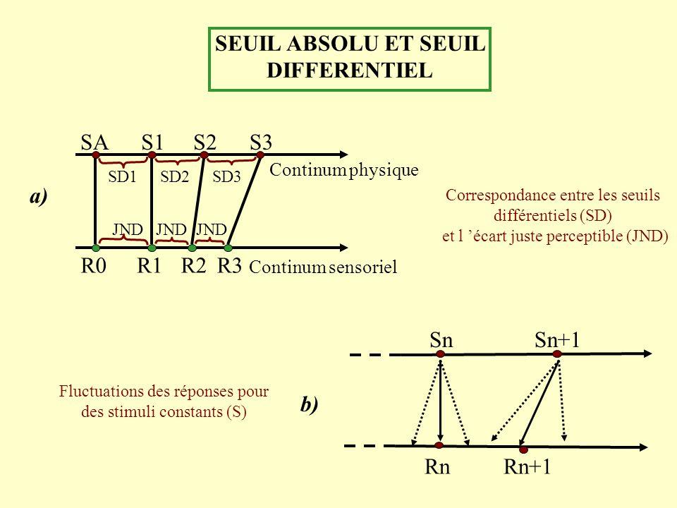 SEUIL ABSOLU ET SEUIL DIFFERENTIEL a) JND SAS1S2S3 R0 SD1 R2R3 Continum physique Continum sensoriel R1 JND SD2SD3 SnSn+1 b) RnRn+1 Correspondance entr