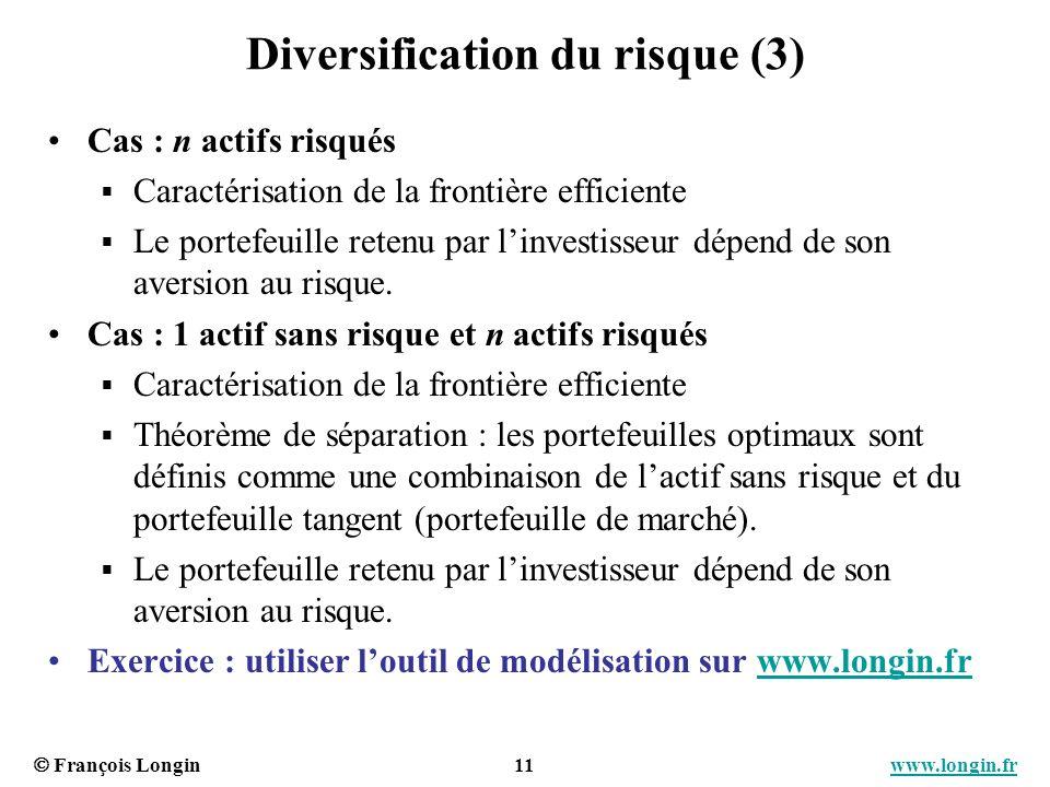 François Longin 11 www.longin.frwww.longin.fr Diversification du risque (3) Cas : n actifs risqués Caractérisation de la frontière efficiente Le porte