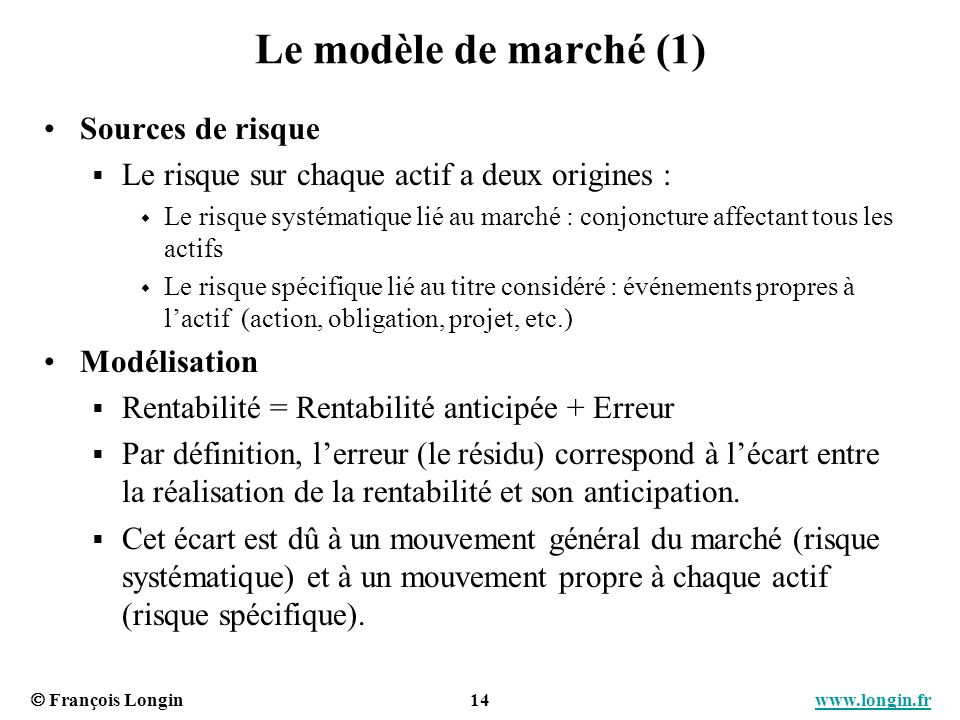François Longin 14 www.longin.frwww.longin.fr Le modèle de marché (1) Sources de risque Le risque sur chaque actif a deux origines : Le risque systéma