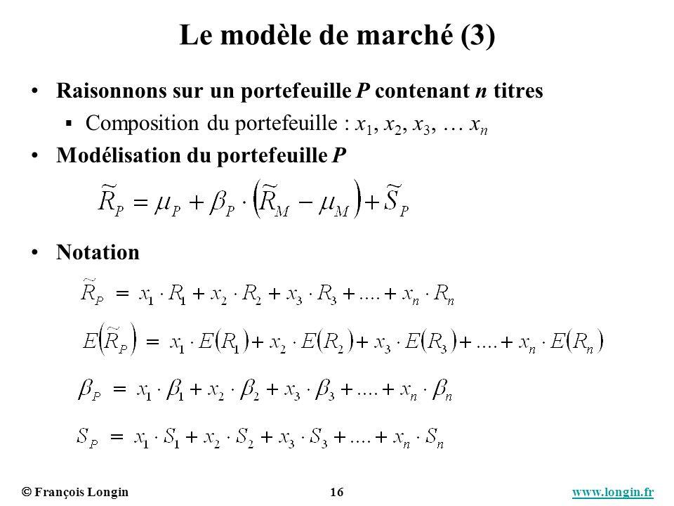 François Longin 16 www.longin.frwww.longin.fr Le modèle de marché (3) Raisonnons sur un portefeuille P contenant n titres Composition du portefeuille