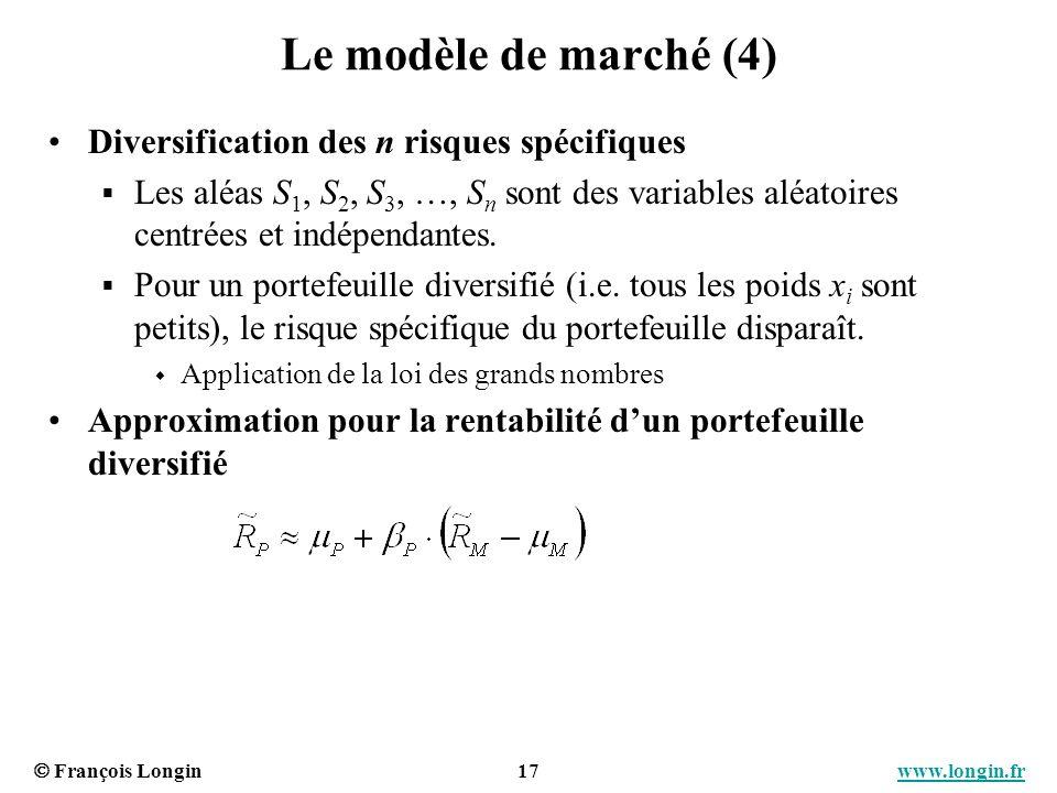 François Longin 17 www.longin.frwww.longin.fr Le modèle de marché (4) Diversification des n risques spécifiques Les aléas S 1, S 2, S 3, …, S n sont d