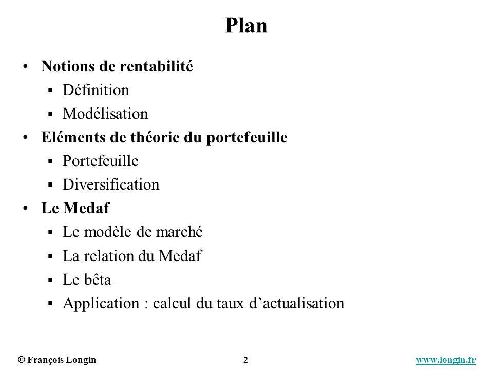 François Longin 3 www.longin.frwww.longin.fr Rentabilité dun actif (1) Définition de la rentabilité Notations : Calcul Exercice : montrer la rentabilité correspond au TRI de la séquence de flux dinvestissement.