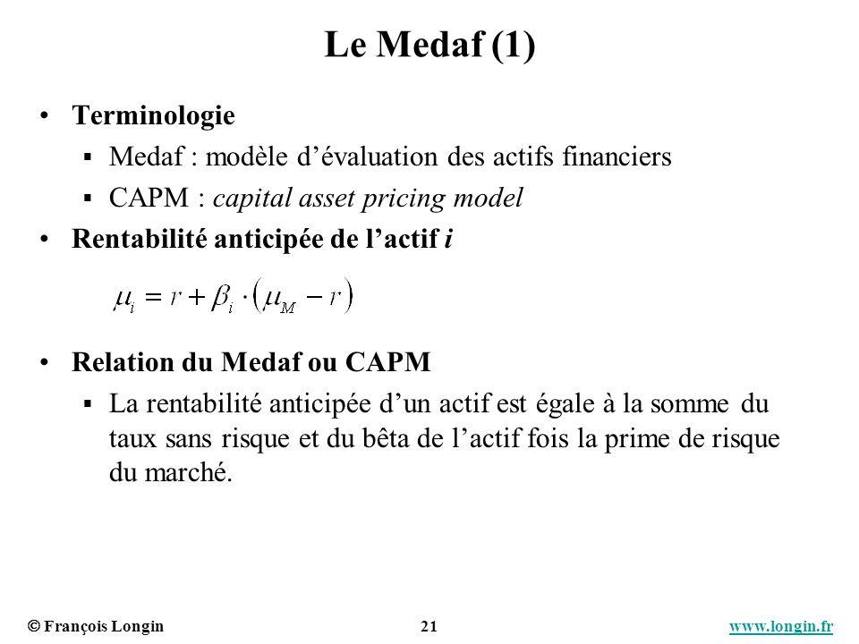 François Longin 21 www.longin.frwww.longin.fr Le Medaf (1) Terminologie Medaf : modèle dévaluation des actifs financiers CAPM : capital asset pricing
