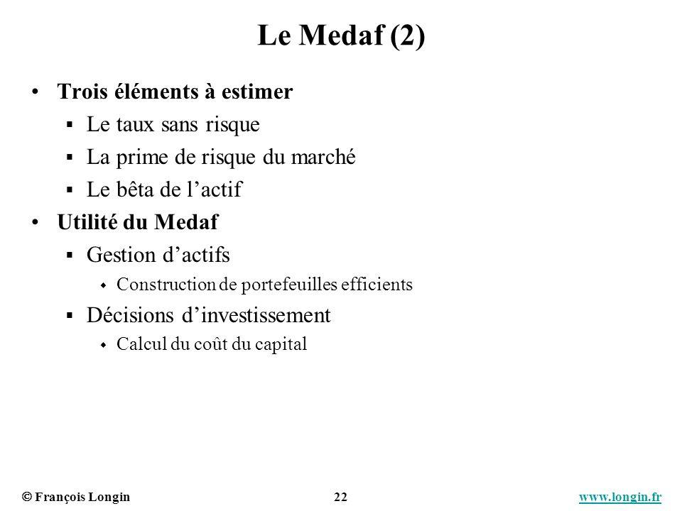 François Longin 22 www.longin.frwww.longin.fr Le Medaf (2) Trois éléments à estimer Le taux sans risque La prime de risque du marché Le bêta de lactif
