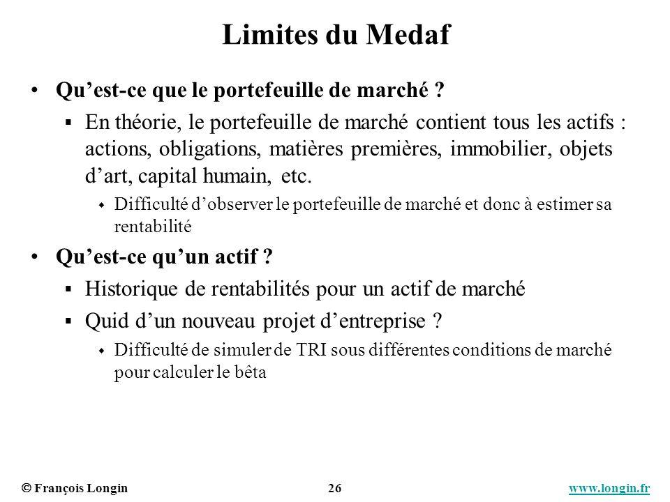 François Longin 26 www.longin.frwww.longin.fr Limites du Medaf Quest-ce que le portefeuille de marché ? En théorie, le portefeuille de marché contient