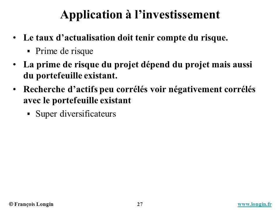 François Longin 27 www.longin.frwww.longin.fr Application à linvestissement Le taux dactualisation doit tenir compte du risque. Prime de risque La pri