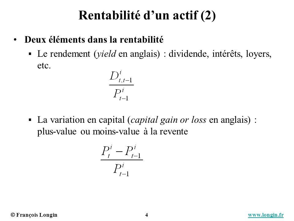 François Longin 5 www.longin.frwww.longin.fr Rentabilité dun actif (3) Statistiques importantes (1) La moyenne des rentabilités Espérance / anticipation de rentabilité pour le futur Mesure de performance La dispersion des rentabilités (autour de la moyenne) La variance ou lécart-type des rentabilités Mesure sur risque (mesure globale)