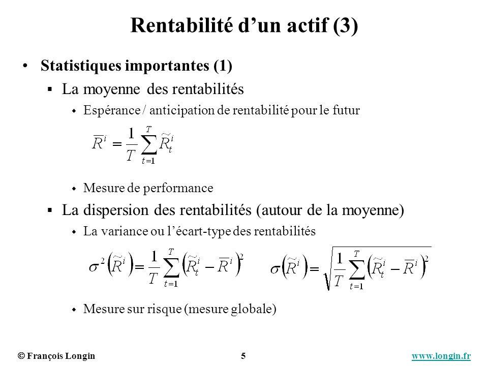François Longin 6 www.longin.frwww.longin.fr Rentabilité dun actif (4) Statistiques importantes (2) Les quantiles de rentabilités Probabilité dobserver une rentabilité en dessous dun seuil donné Mesure du risque (mesure locale)